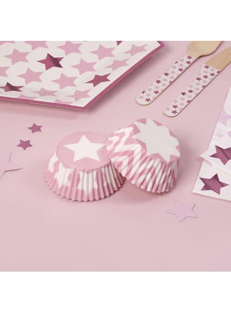 100 moules à cupcakes en carton - Little Star Pink