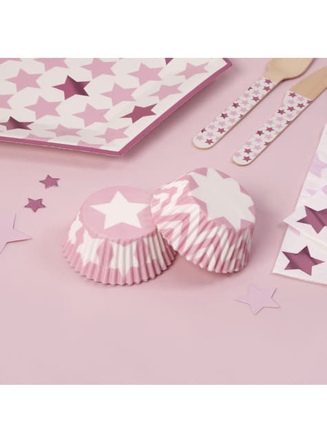 100 paper cupcake cases -  Little Star Pink