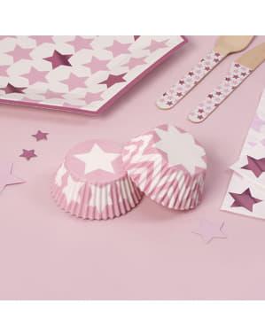 100 Cupcake Θήκες - Ροζ Αστέρι