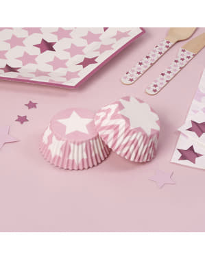 Set 100 kes cupcake kertas - Little Star Pink