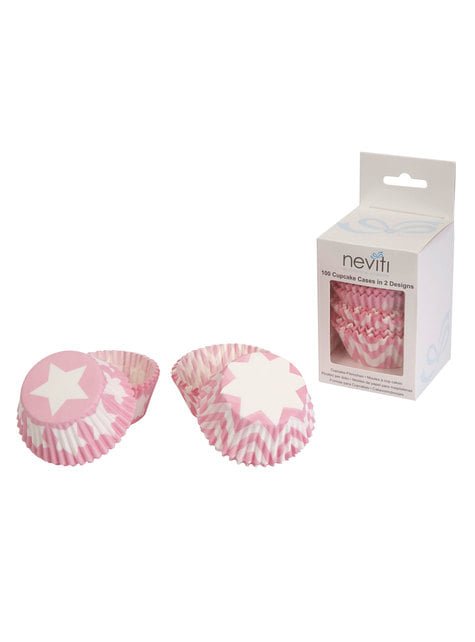 100 basi per cupcake di carta - Little Star Pink