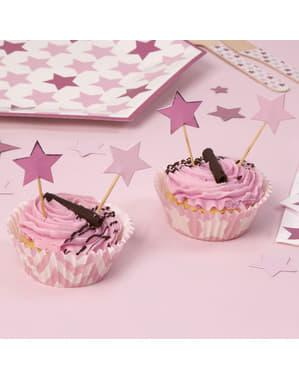20 palitos decorativos com forma de estrela - Little Star Pink
