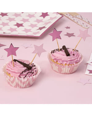 20 star shaped decorative toothpicks - Little Star Pink