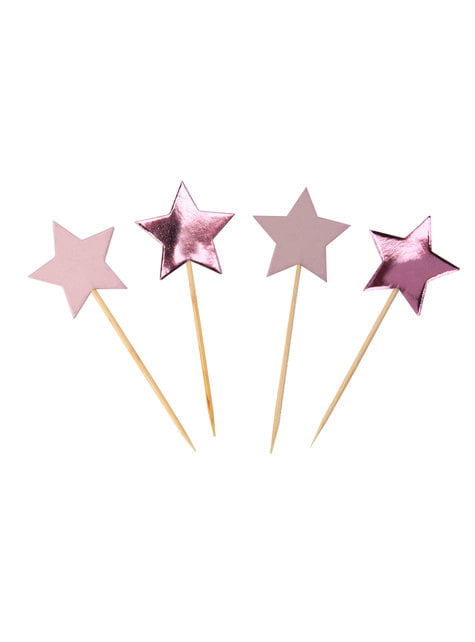 20 toppers con forma de estrella - Pink Star - para tus fiestas