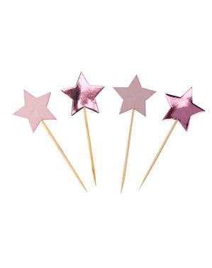 20 toppers con forma de estrella - Pink Star