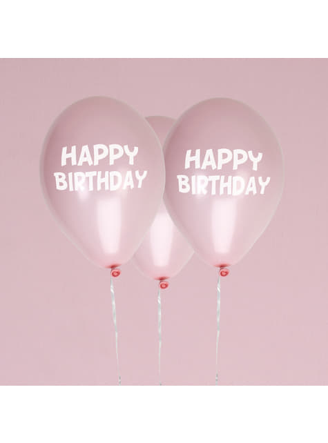 8 globos rosas Happy Birthday (30 cm) - Pink Star