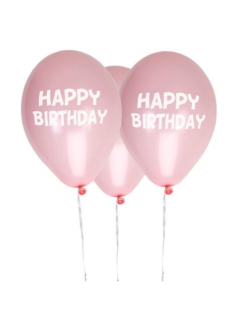 8 globos rosas Happy Birthday (30 cm) - Pink Star - para tus fiestas