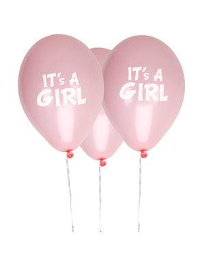 8 globos rosas
