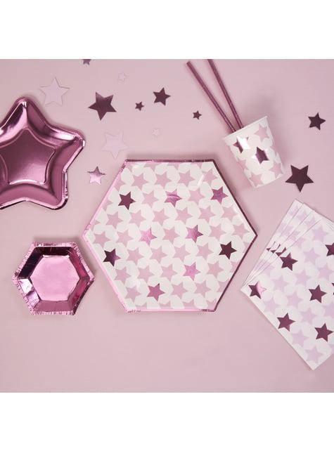8 platos hexagonales (27 cm) - Pink Star