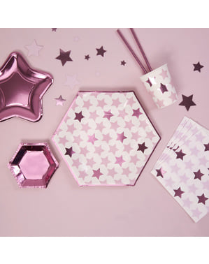 8 pratos hexagonais de pape (27 cm) - Little Star Pink