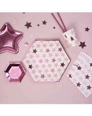 8 papieren zeskantige borde (27 cm) - Kleine Roze Ster
