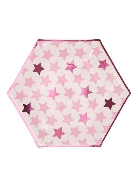 8 platos hexagonales (27 cm) - Pink Star - para tus fiestas