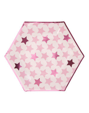 8 farfurii hexagonale de carton (27 cm) - Little Star Pink