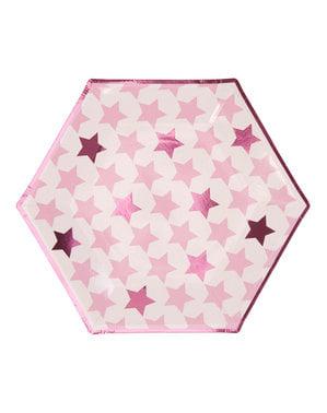 Zestaw 8 sześciokątne papierowe talerze - Little Star Pink