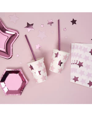 Pappbecher Set 8-teilig - Little Star Pink