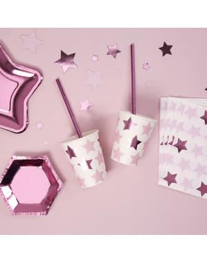 Zestaw 8 papierowe kubki - Little Star Pink