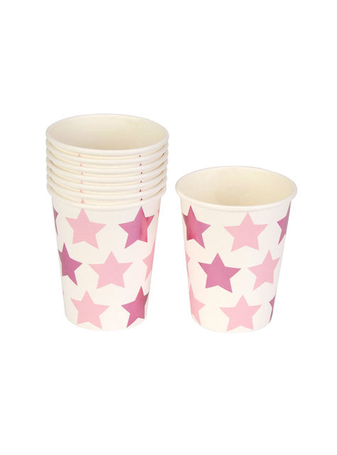 8 paper cups - Little Star Pink