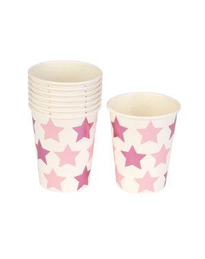 8 vasos con estrellas rosas y moradas - Blue Star