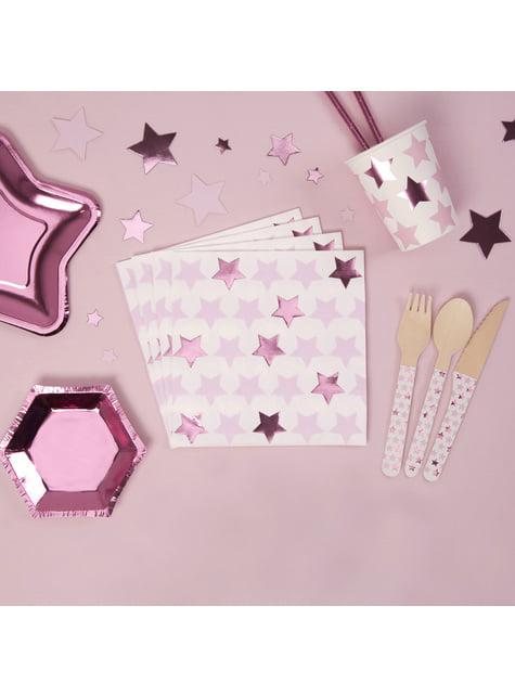 Set of 16 paper napkins - Little Star Pink