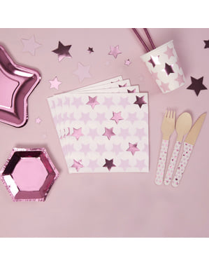 16 papieren servette (33x33 cm) - Kleine Roze Ster