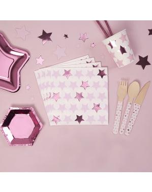 Zestaw 16 papierowe serwetki - Little Star Pink