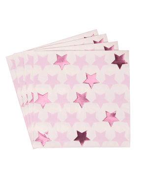 Sada 16 papírových ubrousků - Little Star Pink