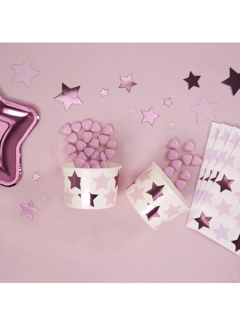 8 vasos con estrellas rosas y moradas - Pink Star - para tus fiestas