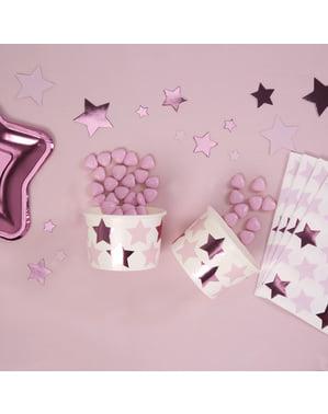 8 хартиени чаши с розови и лилави звезди– Pink Star