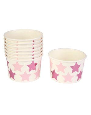 8 Χάρτινα Ποτήρια με Ροζ και Μωβ Αστέρια - Pink Star