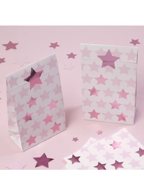 5 Χάρτινα Σακουλάκια Δώρων - Pink Star
