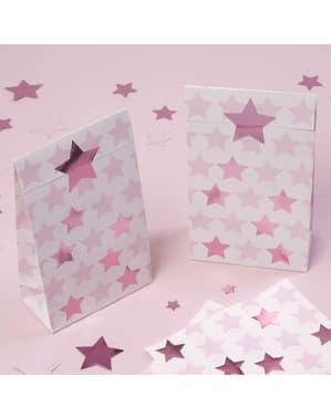 5 паперових подарункових пакетів - Pink Star