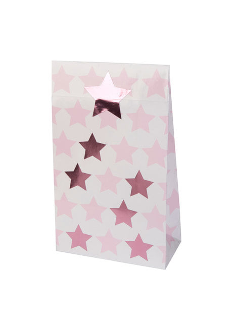 5 paper gift bags - Little Star Pink