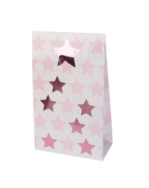 5 שקיות מתנה מנייר - כוכב קטן ורוד