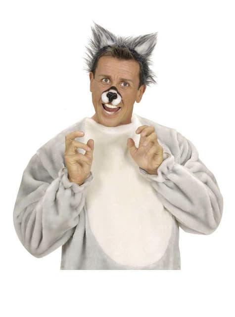 Diadema de orelhas de lobo peludo
