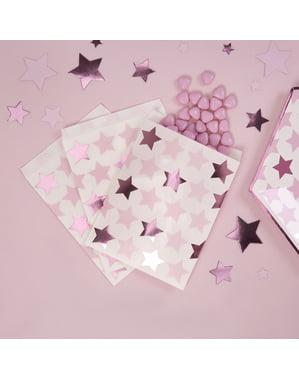 25 שקיות למסיבות מנייר - כוכב ורוד