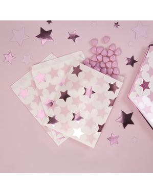 25 Paper Party Bags - Little Star Pink