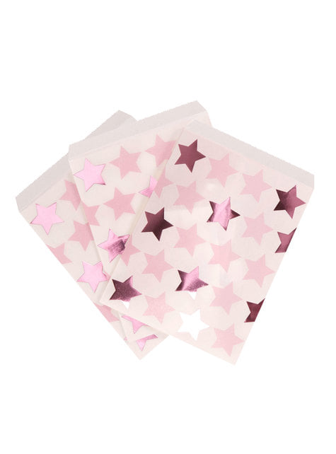 25 bolsitas de papel - Pink Star - para tus fiestas