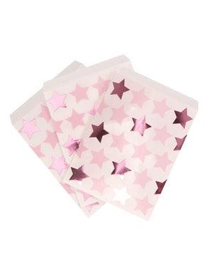 25 papieren feesttasjes - Kleine Roze Ster