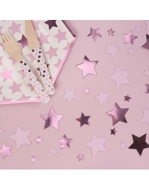 Confetti pentru masă roz - Little Star Pink
