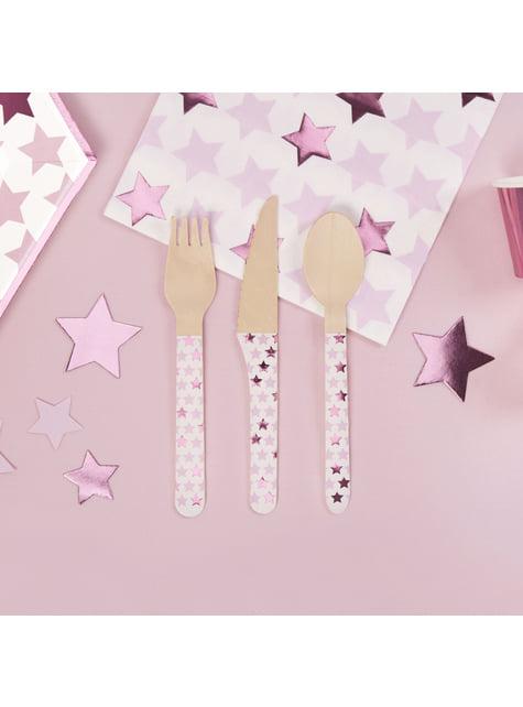 24 Τεμάχια Ξύλινα Μαχαιροπίρουνα - Pink Star