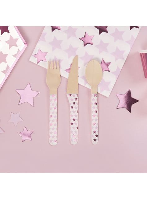 Set of 24 wooden cutlery pieces - Little Star Pink