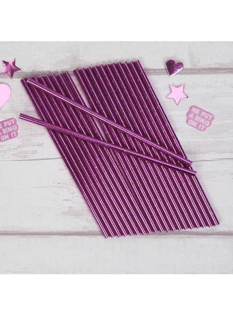 Sada 25 papírových brček růžových - Little Star Pink