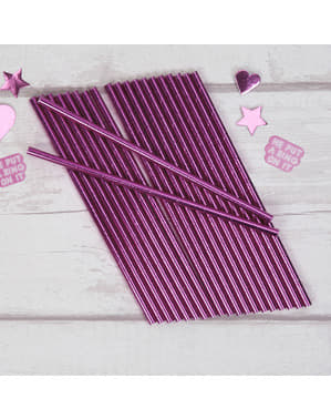 25 paper straws in pink - Little Star Pink