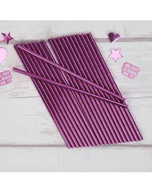 25 roze papieren rietjes - Kleine Roze Ster