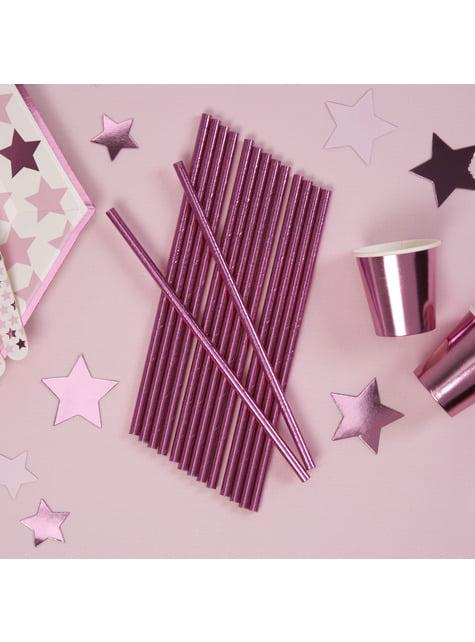 25 pailles roses en carton - Little Star Pink