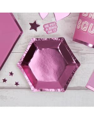 8 roze papieren zeskantige borde (12,5 cm) - Kleine Roze Ster
