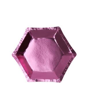 8 kuusikulmaista paperilautasta pinkkinä – Little Star Pink