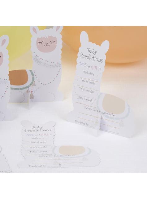 10 tarjetas de predicción nacimiento de papel - Llama Love - para tus fiestas