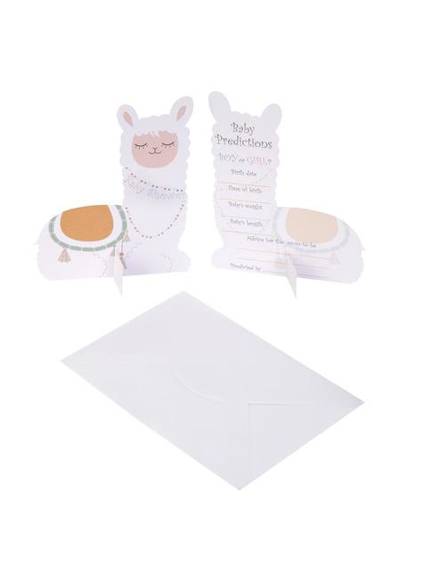 10 cartões de previsão nascimento de papel - Llama Love