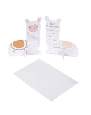 Комплект от 10 хартиени очакващи карти - Llama Love